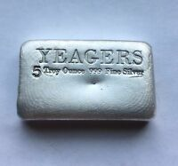 5 oz Hand Poured 999 Silver Bullion Bar by YPS (Bare Bones)