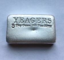 5oz Hand Poured 999 Silver Bullion Bar by YPS (Bare Bones)