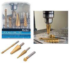 BlueSpot 4pc Multi Drill Set Countersink Step Taper Saw Bits Wood Steel Metal