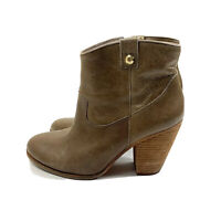 Vince Camuto Hammertone Leather Ankle Boots Bootie Size 9 Brown Round Toe