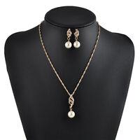 New Women Wedding Bridal Crystal Pearl Rhinestone Necklace Earrings Jewelry Set