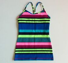 Ivivva Youth Girls Size 10 Tumblin Tank Top Stripe Blue Yellow Athletic