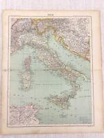 1898 Französisch Map Of Italien Sizilien Sardinien Korsika 19th Century Antik