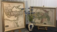 More details for pair large antiquarian framed display maps -early 1800s -hand coloured d'anville