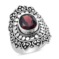 BALI LEGACY 925 Sterling Silver Red Garnet Solitaire Ring Jewelry Size 10 Ct 2.9