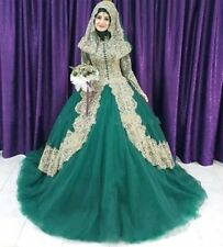 Turkish Islamic Green Wedding Dress 2018 Ball Gown Muslim robe de mariage Custom