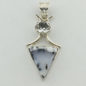 DENDRITE AGATE Stone (India) ARTISAN Pendant Crystal - 925 STERLING SILVER #23