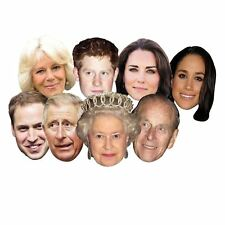 8pcs  Royal Family Masks Queen Phillip Kate William Harry Charles Camilla Meghan