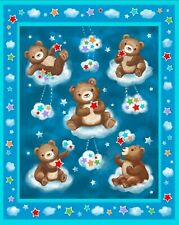Teddy Bears on Clouds Baby Wall hanging Quilt top Panel Fabric 100% cotton