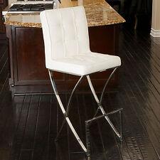 Oliver Stainless Steel Modern Design White Leather Bar Stool Kitchen barstool