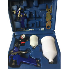 2 Hvlp Air Spray Gun Kit Auto Paint Car Primer Detail Basecoat Clearcoat W/Box