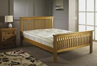 NEW OAK WOODEN BED DOUBLE 4FT6 WOODEN BED FRAME OAK WOOD NEW SHAKER DESIGN