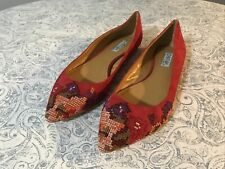 Women's Cynthia Rowley Astor Ballet Flat Pointy Toe Shoes Suede Red Size 10.5 M