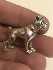 More details for solid sterling silver miniature pitbull dog figure 13.7 grams freepost uk