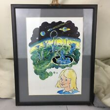 VINTAGE CHILDS ROOM ORIGINAL WATERCOLOUR PAINTING PICTURE FRAMED ALIEN SPACE