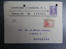 FECHADOR ZARAUZ TARJETA PUBLICIDAD LETEMENDIA Y Cª  AÑO 1939