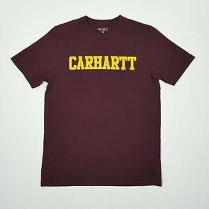CARHARTT Mens Short Sleeve T-Shirt M Burgundy Red Spell Out Logo Crew Cotton