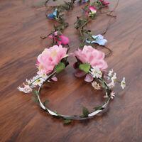 Adjustable Boho Women's Flower Headband Crown Wedding Long Garland Hair Wreath
