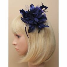 Navy blue fascinator comb with chiffon flower and feather tendrils