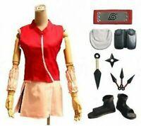 Naruto Haruno Sakura Cosplay Costume Cloth With Gloves Whole Set