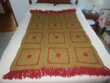 """VINTAGE Red & Gold HAND CROCHETED WOOL Fringed THROW BLANKET - 42"""" x 64"""""""