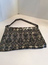 VINTAGE MID CENT. WHITING &  DAVIS MESH SILVER TONE PRINT HAND BAG