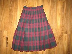 Johnstons Of Elgin 100% Wool kilt check midi pleated Skirt size 10 12