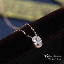 18K Rose Gold GF AAA Grade Cubic Zirconia Oval Cut Slim Single Necklace