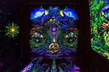 Psytrance Backdrop Fluorescent UV Art Spiritual Painting Wall Hanging Festival