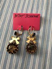 Betsey Johnson Vintage Leopard Lucite Dome Black Rose Heart LOVE Gold Earrings