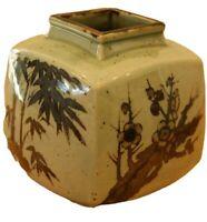 Vintage Toyo Pottery Square Vase Made in Japan Bonsaii Bamboo Jade Green