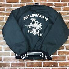 Vintage Grumman F14D Super Tom Cat Varsity Jacket Size XL Made In USA Navy Rare