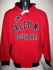 "Atlanta ""FALCONS FOOTBALL"" Hooded Jacket Full Zip Hoody Sewn Logos M L XL 2X"