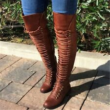 Women Long Boots Lace Up Leather Female Over The Knee Boots Winter Shoes Boots