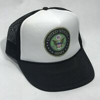 US Army Veteran Or Active Duty Vintage 80's Trucker Hat Snapback Mesh Cap Black