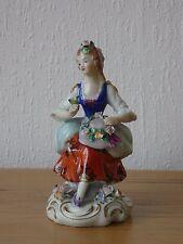 Vintage Sitzendorf Porcelain Figure Flower Seller