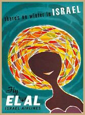 ELAL Israel  Airlines No Winter Vintage Airline Travel Advertisement Art Poster