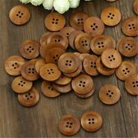 50Pcs Brown Wood Sewing Buttons Scrapbooking 4 Holes Round 25mm Dia Buttons Set