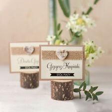50 PCS Rustic Wooden Table Name Place Card Holder Photo Clip Wedding Party Decor