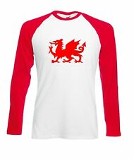WELSH DRAGON LONG SLEEVE BASEBALL T SHIRT FOOTBALL RUGBY WALES EUROS TSHIRT