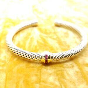 David Yurman 5mm Station Ruby Cable Sterling Silver Bangle Bracelet 14K Gold