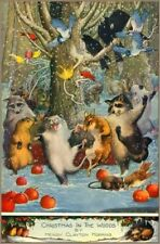 Vintage Repro Postcard: Animals Celebrate Christmas, Woods, Bird Raccoon, Possum
