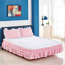 Elastic Three-layer Pleated Ruffle Wrap Cake Bed Skirt Bedding Dress 13 Colors