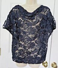 Women's Blue Floral Lace Top Blouse Short Sleeve Size Large