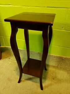 "VTG BOMBAY 28 1/4"" Tall Cherry Wood Tiered  Plant Stand Accent Side Table"