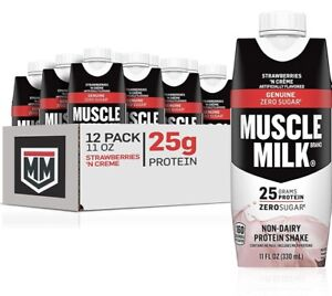 Muscle Milk Genuine Protein Shake | Strawberry 25g Protein | 11 Fl Oz - 12 Pack