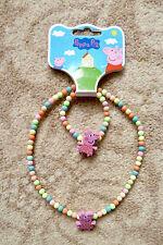 Peppa Pig Collier et Bracelet Set-Peppa avec Jaune Spot Top-Neuf