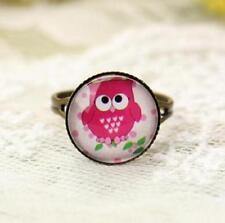 Amazing Pink Owl Ring Vintage Retro Adjustable Bronze Glass Gem Ring Jewelry ♫
