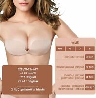 JUST BEHAVIOR Strapless Backless Sticky Invisible Push-up Self, Beige, Size DD Z