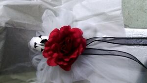 Red and White Wedding Bows with a touch of black set of 12 any color!
